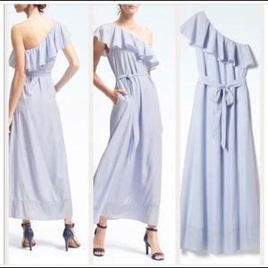 Blue striped one shoulder maxi dress w/ ruffle